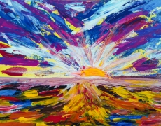 Meeting The Sun Abstract Spring Landscape 50 x 40 cm