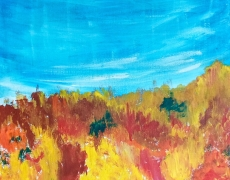Fiery Fall in the Hills Abstract Autumn Landscape 30 x 30 cm, $100