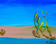 Empty Beach In Tel Aviv Abstract Seascape 35 x 25 cm, $100
