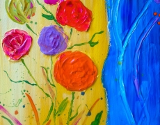 Summer Joy Semi-Abstract Floral Painting 20 x 25 cm, SOLD