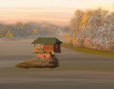 Drina House in Morning Mist Impressionist Landscape