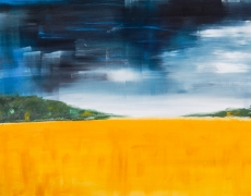 Golden Field Semi-Abstract Landscape 70 x 50 cm, $295