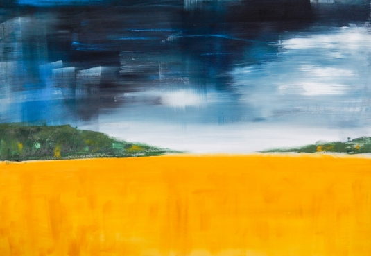 Golden Field Abstract Landscape