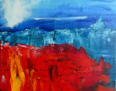 Red Flowers and Blue Mountains Abstract Landscape 30 x 30 cm, SOLD