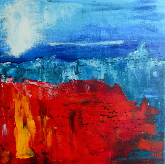 Abstract poppy field landscape