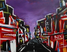 Empty Street at 3 a.m. Abstract Cityscape 40 x 30 cm, $150