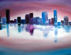 City Reflections Abstract Cityscape 70 x 50 cm, $295