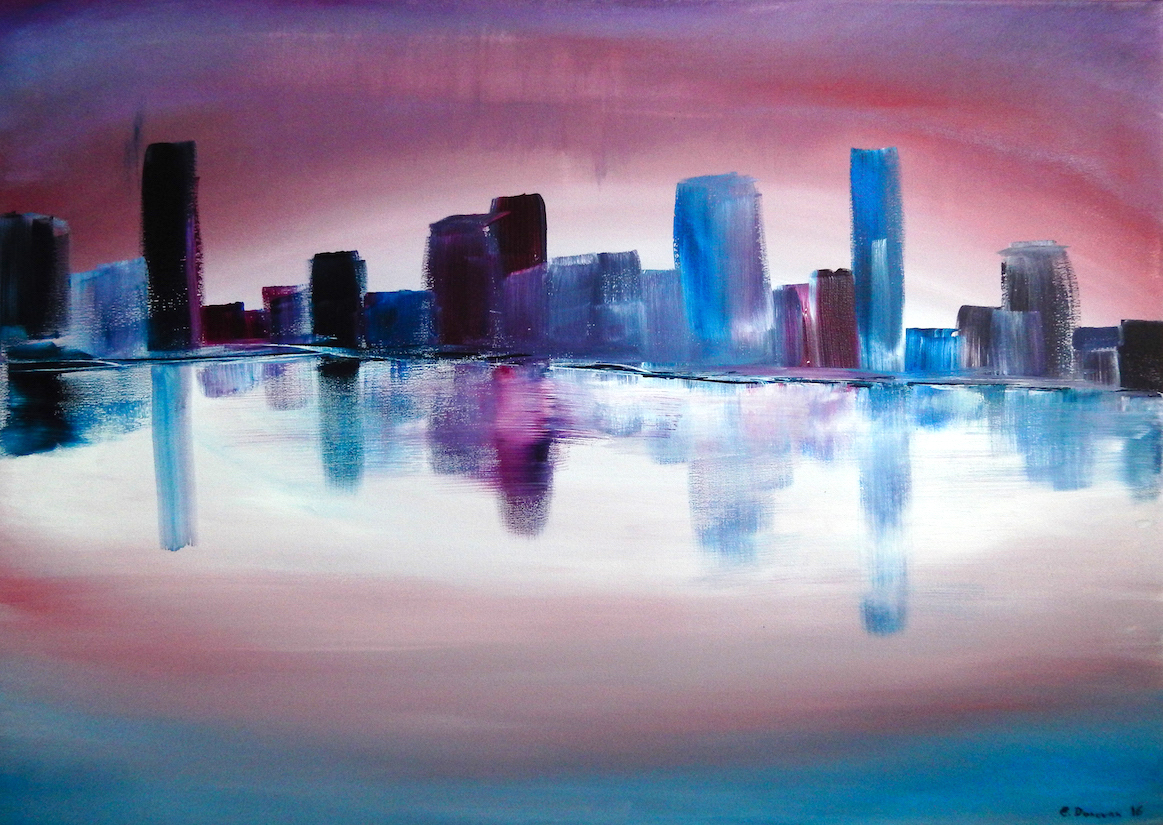 city reflections abstract cityscape 70 x 50 cm   295