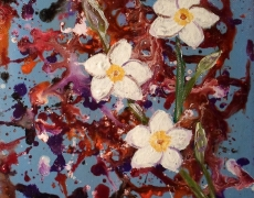 Plumeria Splash Contemporary Abstract Flower Painting