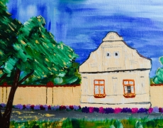 A House in Vojvodina Expressionist House Portrait, SOLD