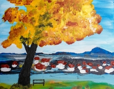 The Golden Tree of Nish Acrylic Landscape Painting 20 x 30 cm, $100
