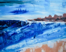 Alone by the Sea Abstract Seascape 70 x 50 cm, $300
