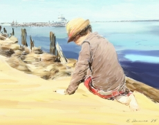Boy on a Beach Contemporary Impressionist Painting