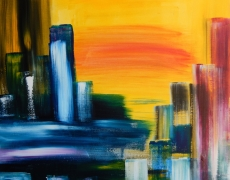 City Sunrise Abstract Cityscape, 50×50 cm, $245