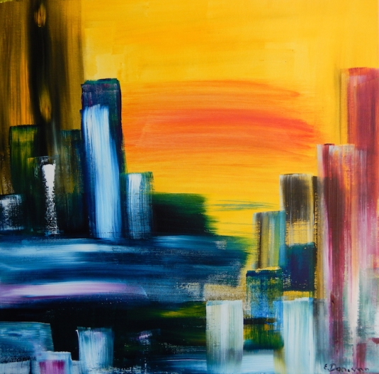 City Sunrise abstract painting
