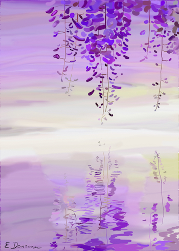 Wisteria Drops, digital painting