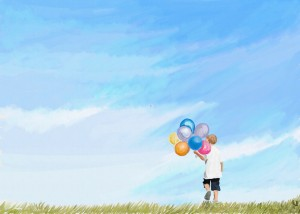 boy with balloons digital landscape