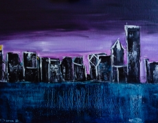 Chicago Skyline Frosty Sunrise Abstract Cityscape 40 x 30 cm, $150